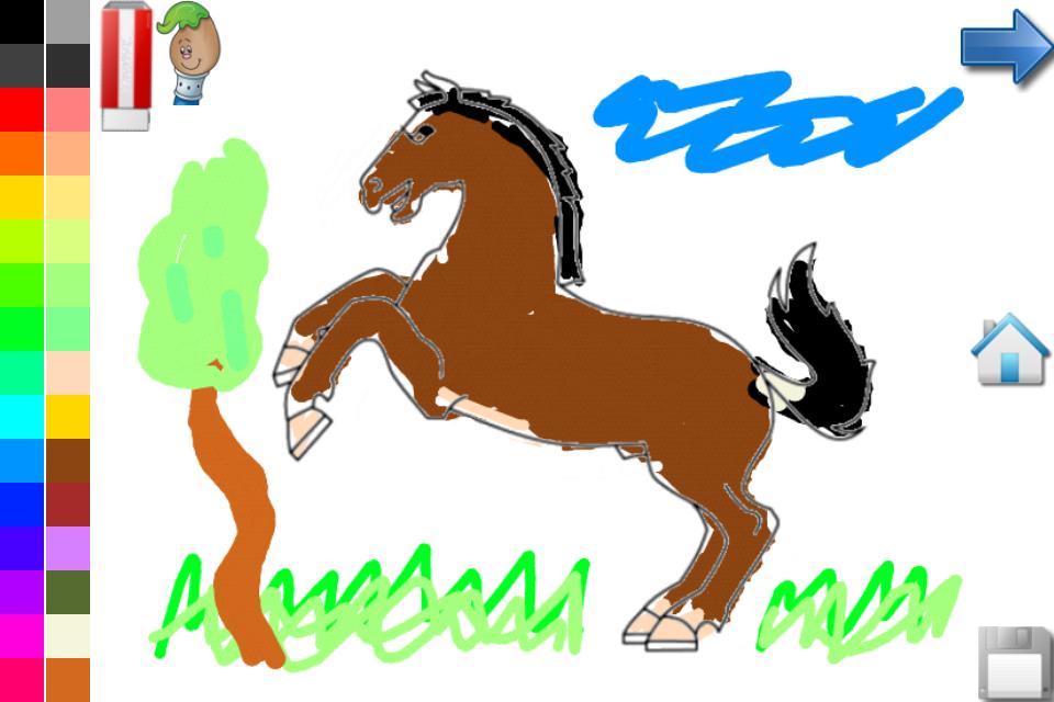 着色页:马和一匹小马呢!